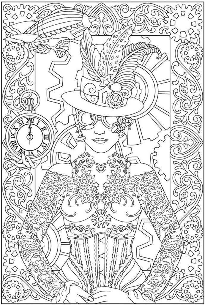 coloring-adult-clock-woman